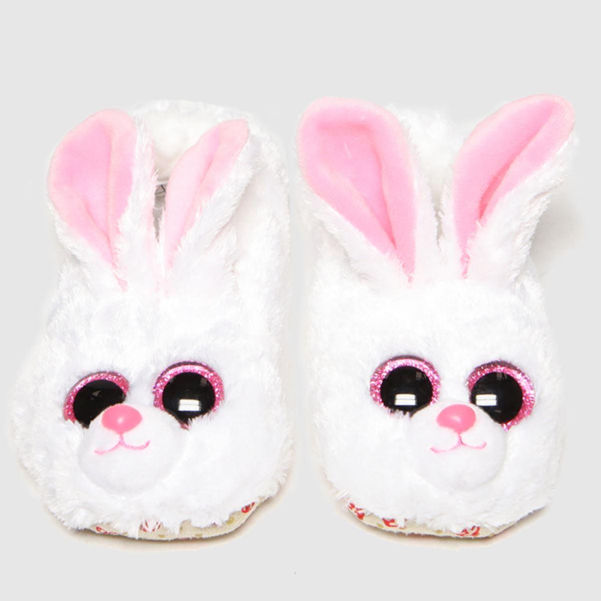 TyUK White & Pink Bunny Slippers Junior