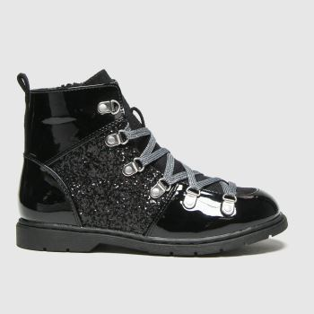 schuh Black Galactic Glitter Lace Up Girls Junior
