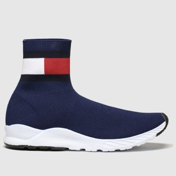 tommy hilfiger navy & white bootie sneaker boots youth