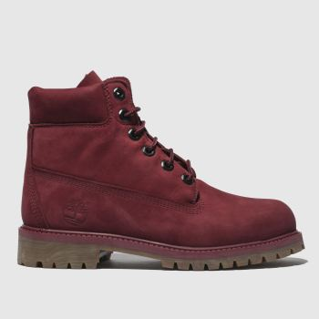 Timberland Burgundy Timb 6 Inch Premium Girls Youth