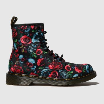 DR MARTENS BLACK & RED 1460 ROSE BOOTS YOUTH