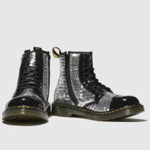 d18bfdda01b7 Girls silver dr martens 1460 pooch sequin boots | schuh