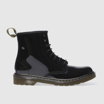 Dr Martens Black Delaney Lace Patent Girls Youth