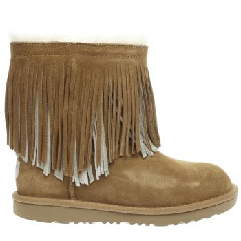 UGG TAN CLASSIC SHORT II FRINGE GIRLS YOUTH BOOTS