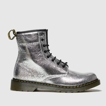Dr Martens Silver 1460 Crinkle Metallic Girls Youth