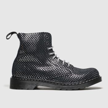 Dr Martens Black & Silver 1460 Pascal Silver Stars Girls Youth