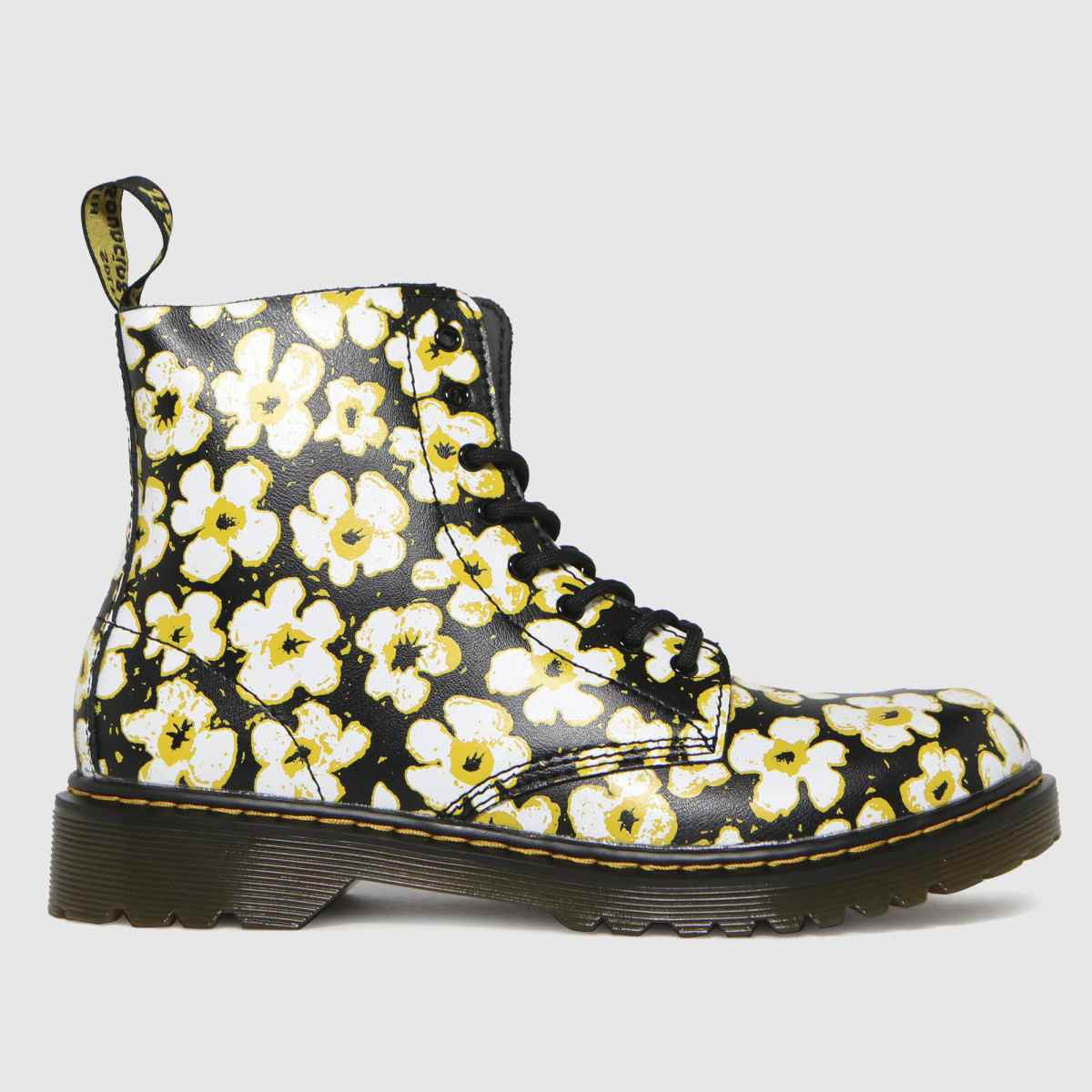 Dr Martens Black & White 1460 Pansy Fayre Boots Youth