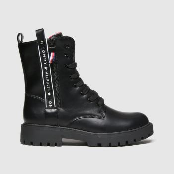 Tommy Hilfiger Black Lace-up Boot Girls Youth