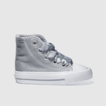 CONVERSE SILVER ALL STAR VELVET HI TRAINERS TODDLER