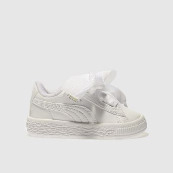 Puma White BASKET HEART PATENT Girls Toddler