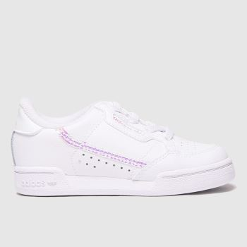 adidas White & Silver Continental 80 Girls Toddler