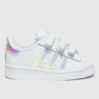 adidas White & Silver Superstar 3v Girls Toddler