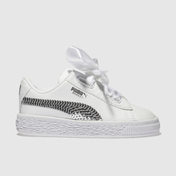 Puma White & Silver Basket Heart Bling Girls Toddler