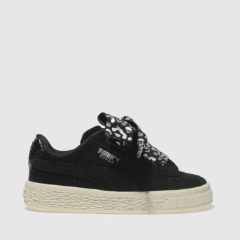 Puma Black & Silver Suede Heart Athluxe Girls Toddler