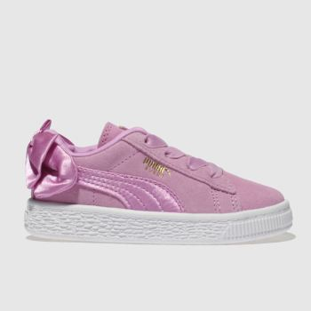 Puma Pink Suede Bow Girls Toddler