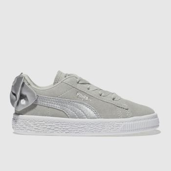 Puma Light Grey Suede Bow Girls Toddler