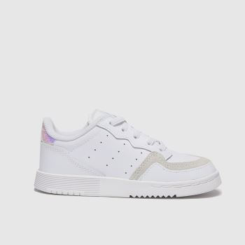 adidas White & Silver Supercourt Girls Toddler