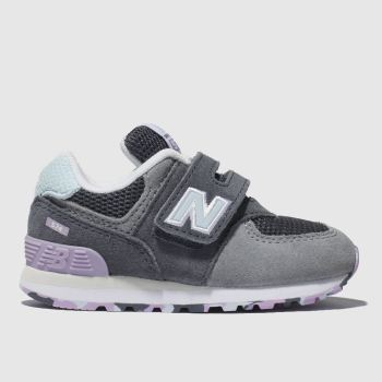 New Balance Grey & Navy 574 Girls Toddler