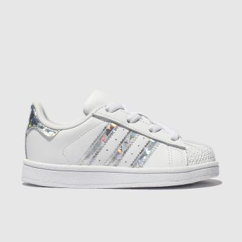 adidas White & Silver Superstar Girls Toddler#