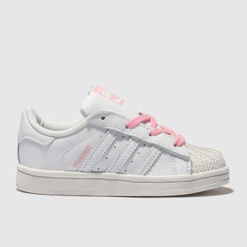 Adidas White & Pink Superstar Girls Toddler
