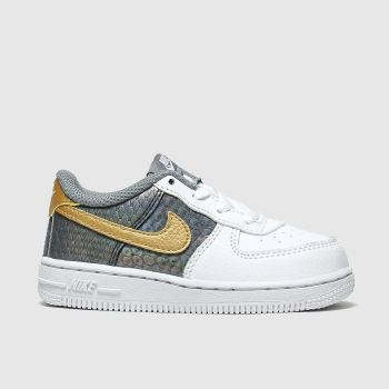 Nike White & grey Air Force 1 Se Girls Toddler#