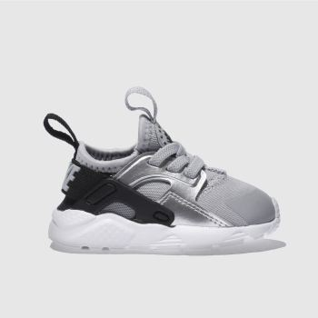 NIKE SILVER & BLACK HUARACHE RUN ULTRA GIRLS TODDLER TRAINERS