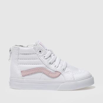 04deb4d78b VANS WHITE   PINK SK8-HI ZIP TRAINERS TODDLER