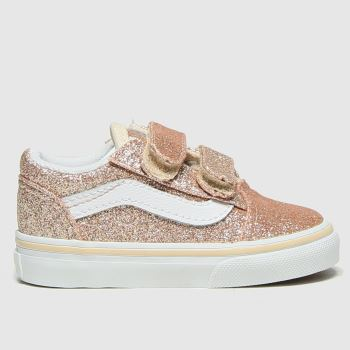 Vans Gold Old Skool V Glitter Girls Toddler