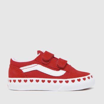 Vans Red Old Skool V Girls Toddler