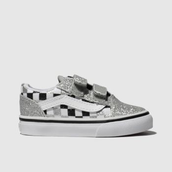 Vans Silver & Black Old Skool Glitter Girls Toddler