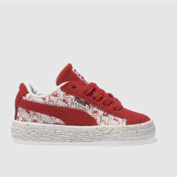 Puma White & Red SUEDE X HELLO KITTY Girls Toddler