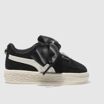 Puma Black Suede Heart Jewel Girls Toddler