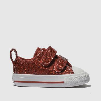 Converse Red All Star Ox 2V Glitter Girls Toddler