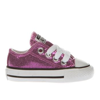 c91295c3ec89 CONVERSE PINK ALL STAR OX GLITTER TRAINERS TODDLER