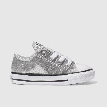 df579541885e CONVERSE SILVER ALL STAR OX GLITTER TRAINERS TODDLER