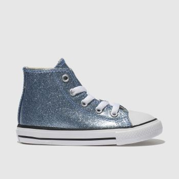 CONVERSE BLUE ALL STAR HI GLITTER TRAINERS TODDLER