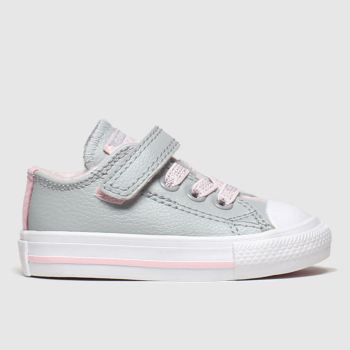 Converse Light Grey All Star Sparkle Lace 1v Lo Girls Toddler