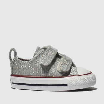 Converse Silver All Star 2v Lo Glitter Girls Toddler