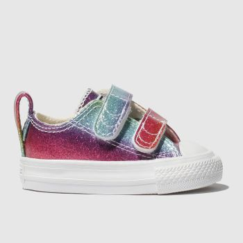 Converse Pink & Blue All Star 2v Lo Glitter Rainbow Girls Toddler