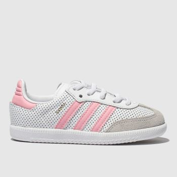 Adidas White & Pink Samba Girls Toddler