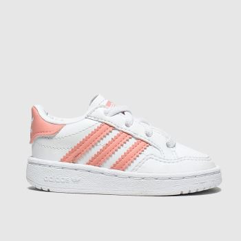 adidas White & Pink Team Court El Girls Toddler