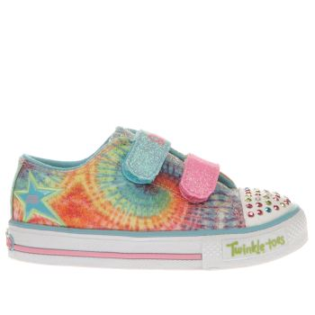 SKECHERS PALE BLUE & PINK TWINKLE TOE SHUFFLE GIRLS TODDLER TRAINERS
