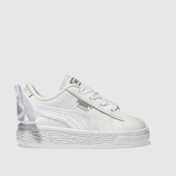 Puma White Basket Bow Girls Toddler