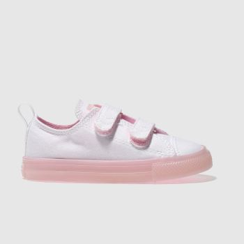CONVERSE WHITE & PINK CHUCK TAYLOR ALL STAR 2V GIRLS TODDLER TRAINERS
