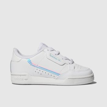 Adidas White & Silver Continental 80 c2namevalue::Girls Toddler