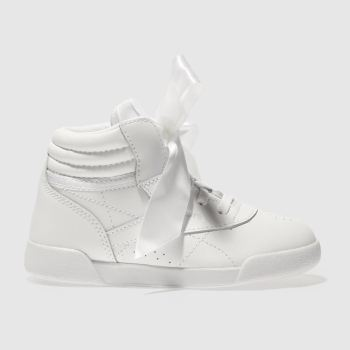 REEBOK WHITE FREESTYLE HI BOW GIRLS TODDLER TRAINERS