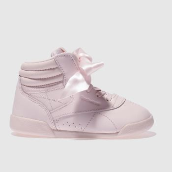 301a9d08c61 REEBOK PALE PINK FREESTYLE HI BOW TRAINERS TODDLER