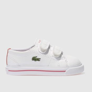 LACOSTE WHITE & PINK RIBERAC TRAINERS TODDLER