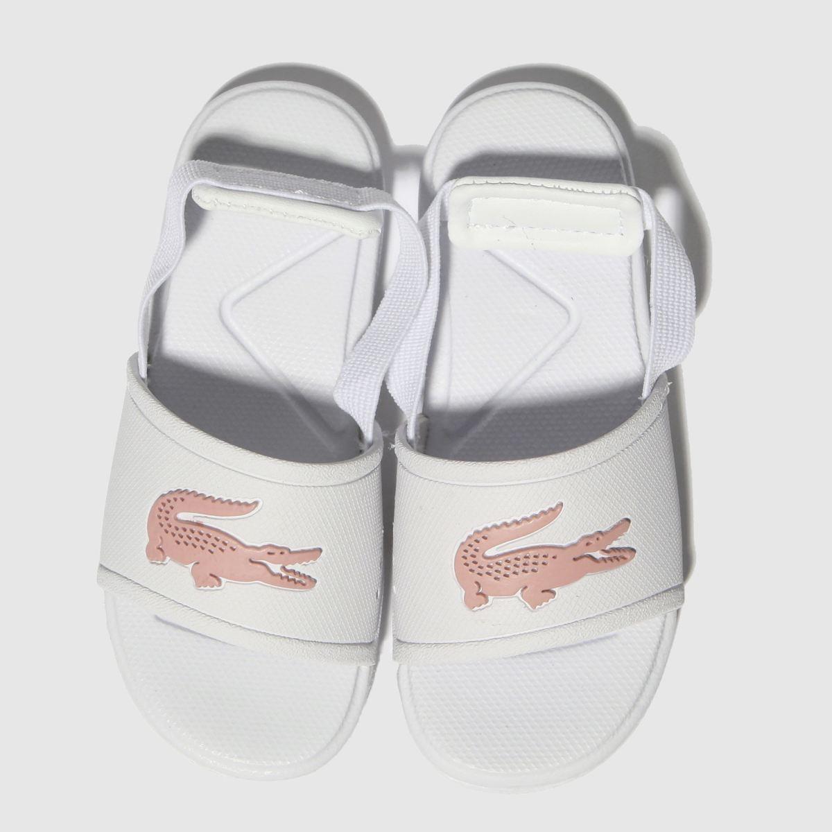 Lacoste White & Pink L.30 Slide Sandals Toddler