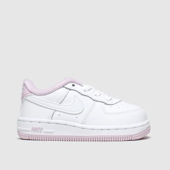 Nike white & pink air force 1 trainers toddler